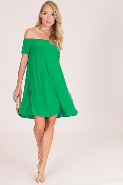 Flirty Off Shoulder Swing Dress - orangeshine.com