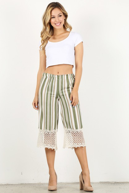 stripe wide leg pocket pants - orangeshine.com