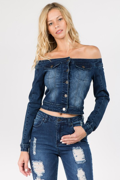 DENIM OFF SHOULDER CROPPED JACKET - orangeshine.com