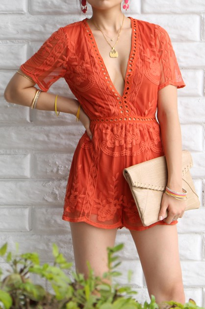 SLEEVE MESH LACE ROMPER WITH LINING - orangeshine.com