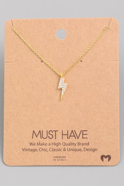Mini Studded Lightning Bolt Necklace - orangeshine.com