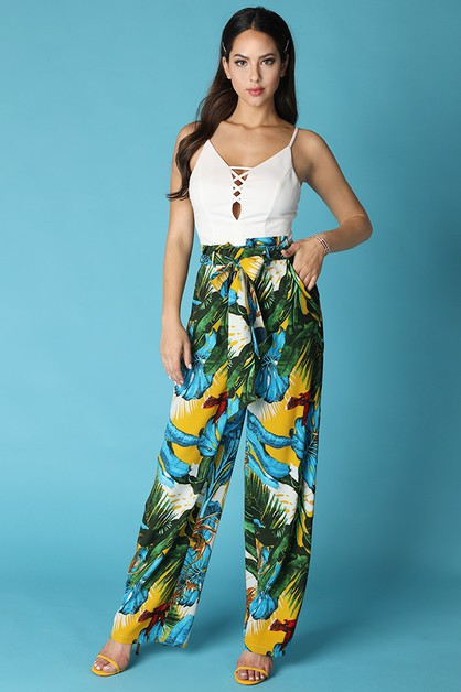 Tropical Print pants Tie Belt Wide L - orangeshine.com