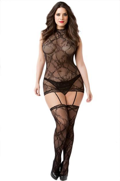 7ca814960 Seamless Lace Dress Bodystocking - orangeshine.com