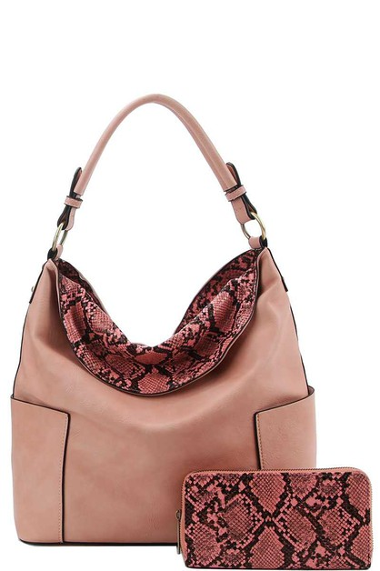 DESIGNER SNAKE PATTERN TWO TONE HOBO - orangeshine.com