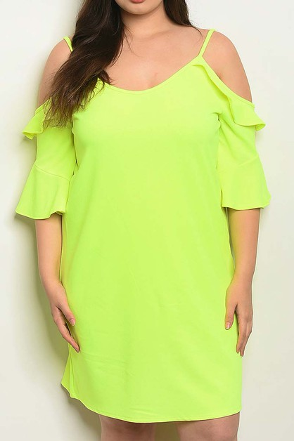SOLID PLUS SIZE OFF SHOULDER DRESS - orangeshine.com