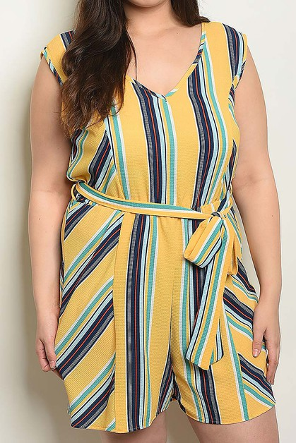STRIPE BELTED V NECK PLUS SIZE ROMPE - orangeshine.com