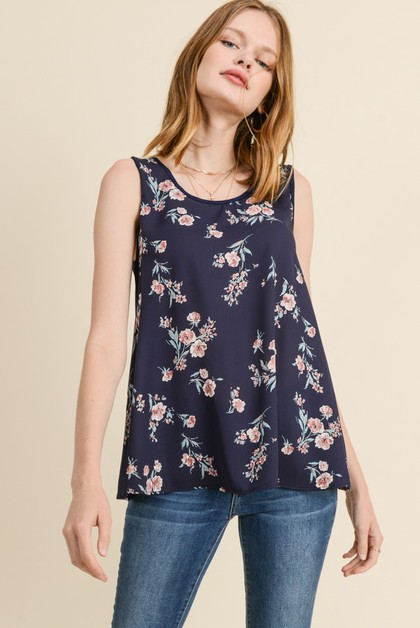 SLEEVELESS FLORAL TOP - orangeshine.com