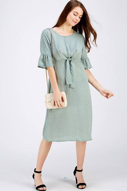 Polka Dot Print Tie Front Dress - orangeshine.com