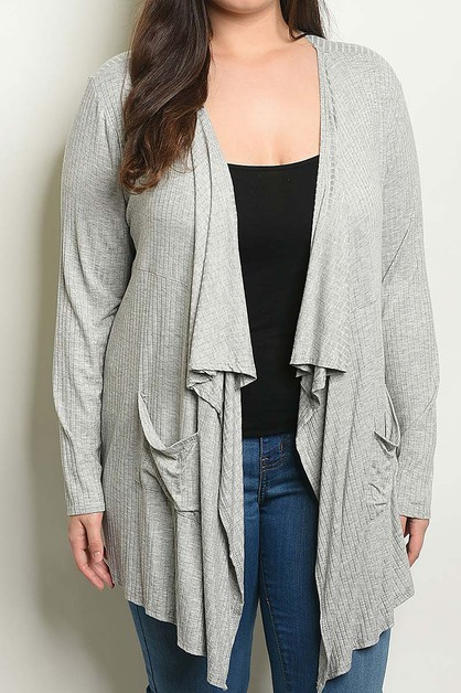 DRAPED OPEN FRONT PLUS CARDIGAN - orangeshine.com