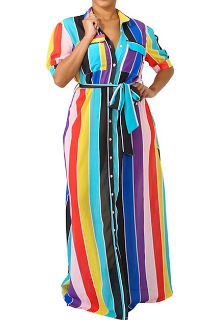 MULTI-COLOR BUTTON DOWN FRONT MAXI D - orangeshine.com