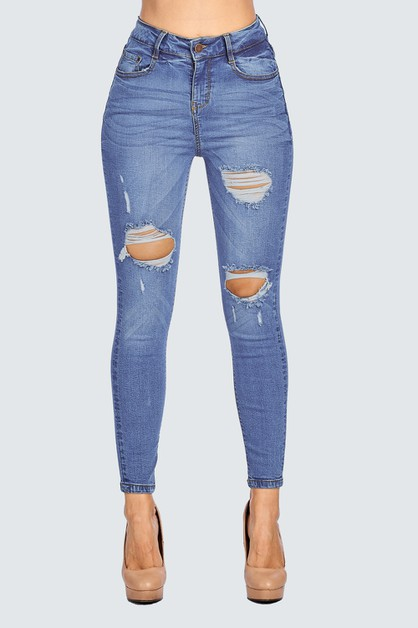 SKINNY JEANS HIGH WAISTED DESTROYED - orangeshine.com