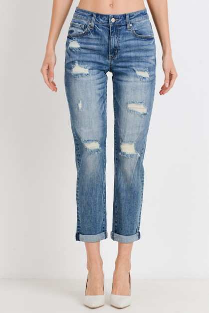 Roll Up Slim Fit Boyfriend Jeans - orangeshine.com