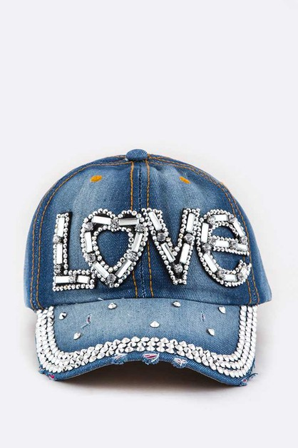 LOVE Crystal Embelished Denim Cap - orangeshine.com