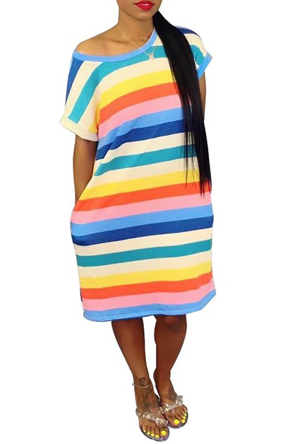MULTI STRIPE T SHIRT DRESS OFF SHOUL - orangeshine.com