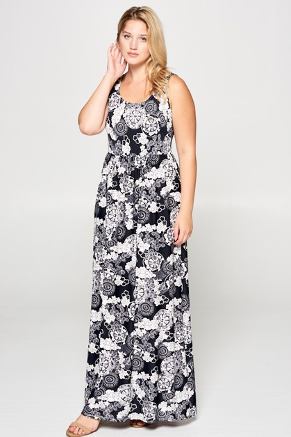 Abstract Maxi Dress - orangeshine.com
