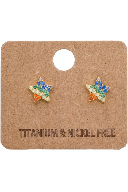Rainbow Studded Star Earrings - orangeshine.com