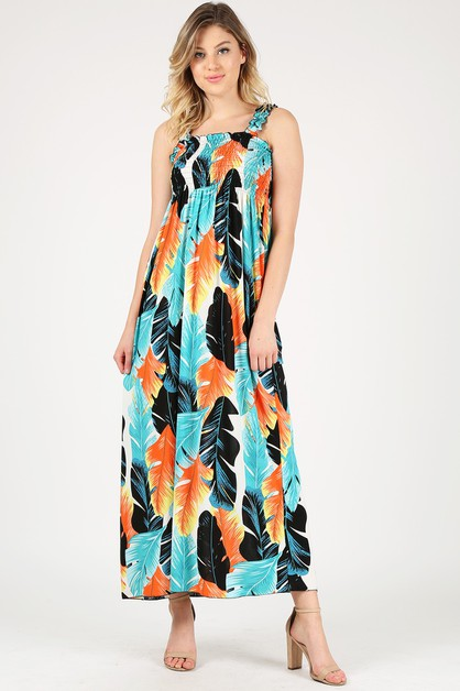 Smoking Ruffled Cold Shoulder Dress - orangeshine.com