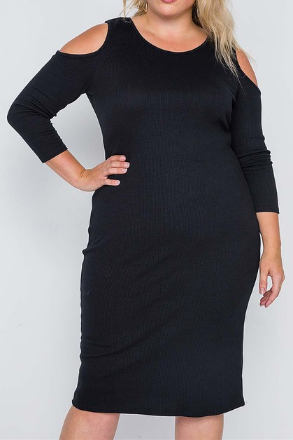 COLD SHOULDER BODY CON MIDI DRESS - orangeshine.com