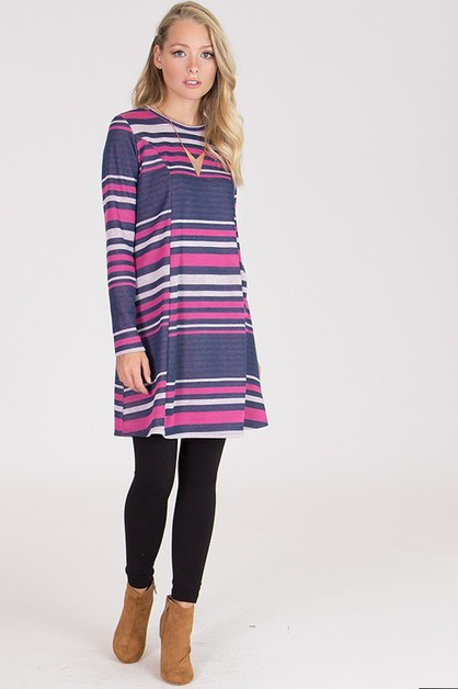 LONG SLEEVE PRINTED SWEATER DRESS - orangeshine.com