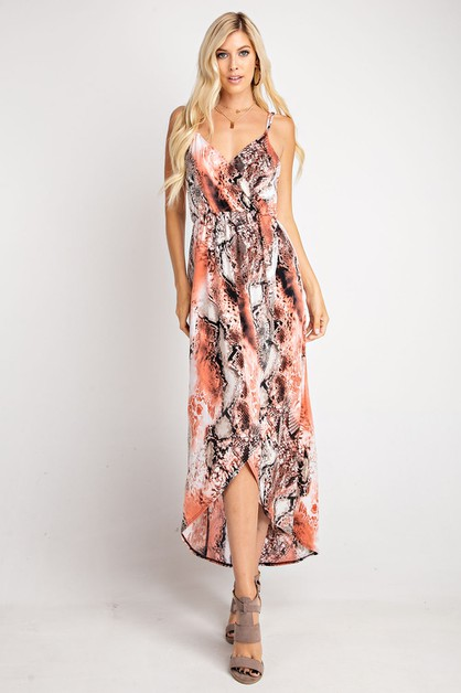 FLORAL PRINT MAXI DRESS WITH DOUBLE  - orangeshine.com