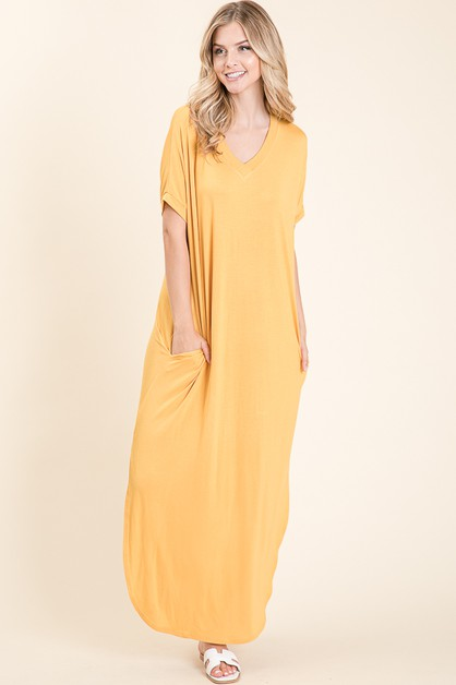 SOLID MAXI DRESS WITH POCKETS - orangeshine.com