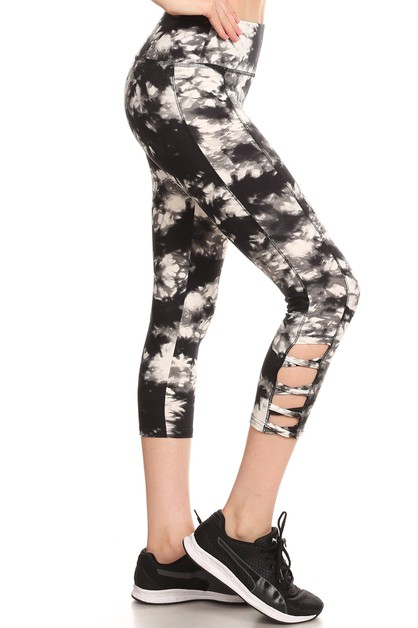 Cross Tie Dye Sports Leggings Yoga  - orangeshine.com