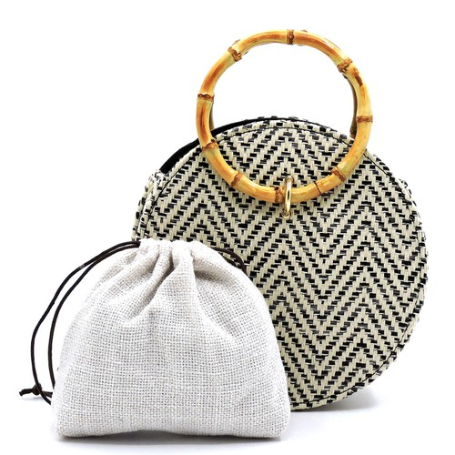 Straw Round 2-in-1 Bamboo Satchel - orangeshine.com
