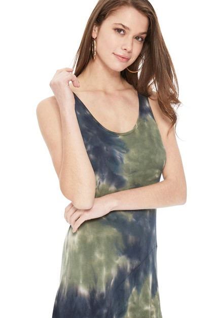 TIE DYE ASYMMETRY SLEEVELESS DRESS - orangeshine.com