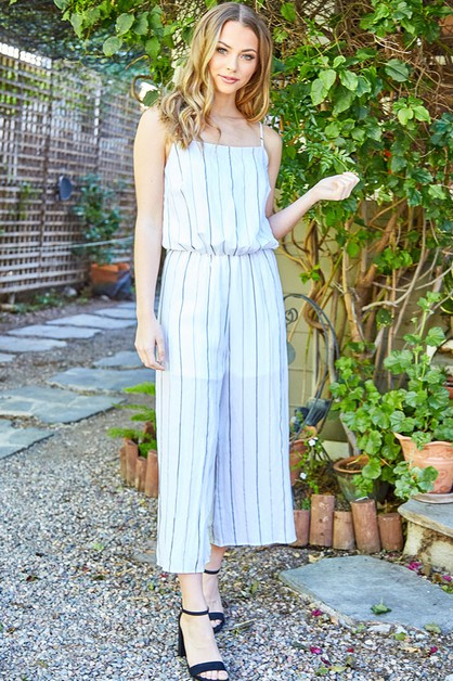 Striped Woven Cami Jumpsuit - orangeshine.com