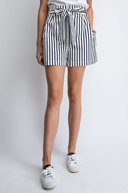 STRIPE PRINT BOW HIGH WAIST SHORTS - orangeshine.com