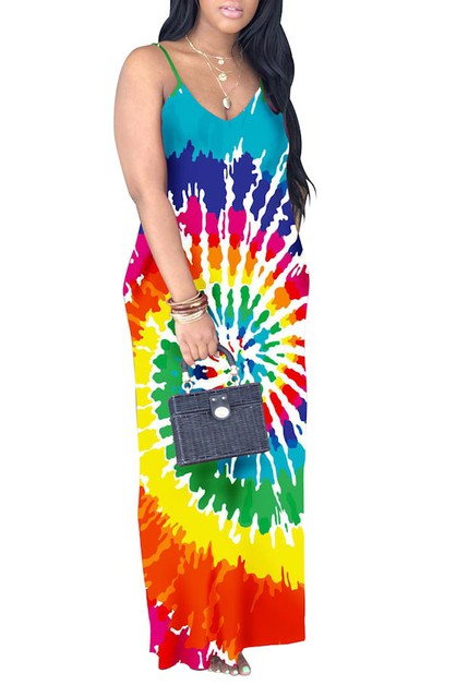 MULTI TIE DYE PRINT MAXI DRESS V NEC - orangeshine.com