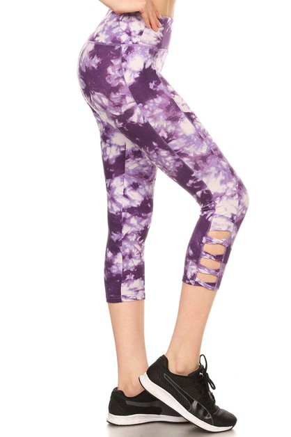 Cross Cutouts Capris Yoga Pants  - orangeshine.com