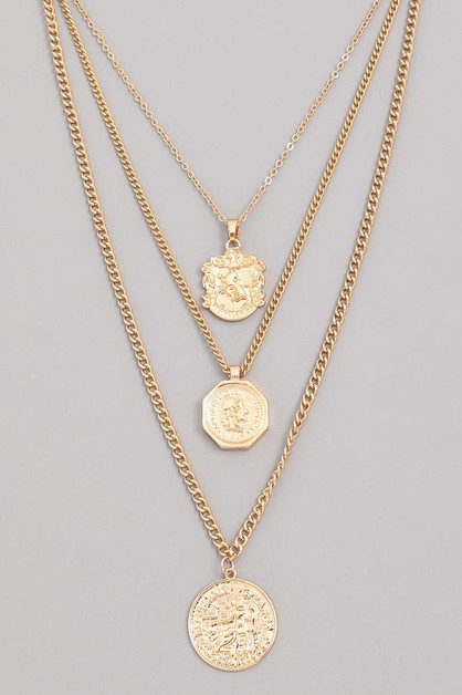 Layered European Coin Pendant Necklace - orangeshine.com