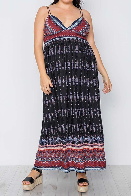 PAISLEY PRINT V NECK PLUS MAXI DRESS - orangeshine.com