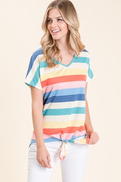 RELAXED FIT MULTI STRIPE TOP - orangeshine.com