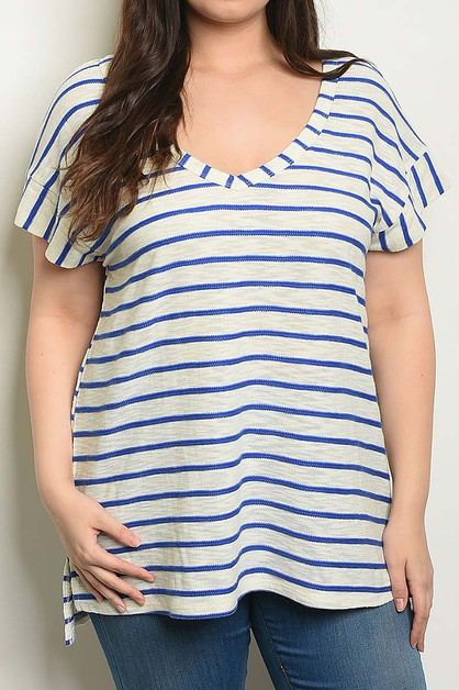 STRIPE V NECK PLUS SIZE TUNIC TOP - orangeshine.com