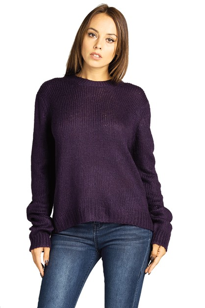 CREW NECK COMFY BASIC KNIT SWEATER - orangeshine.com