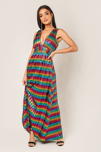 Multi Colored Maxi Dress - orangeshine.com