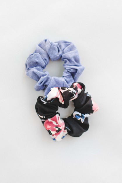 Black Floral and Chambray Scrunchie - orangeshine.com