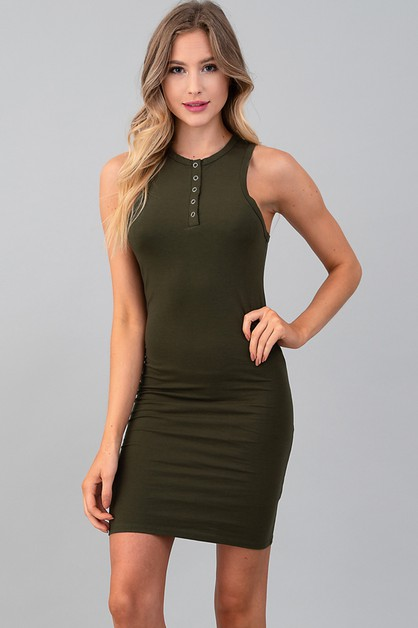 SNAP BUTTON TANK MINI DRESS - orangeshine.com