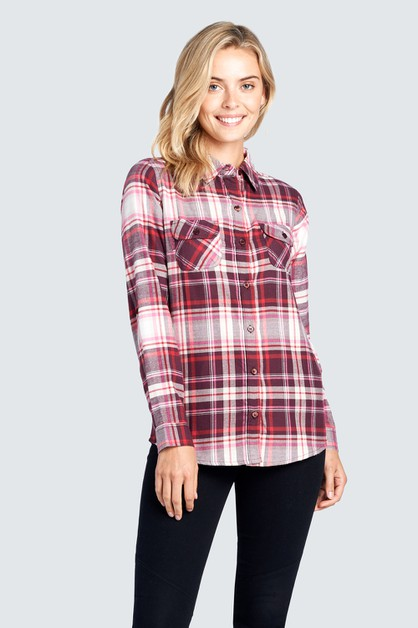LONG SLEEVE FLANNEL PLAID  - orangeshine.com