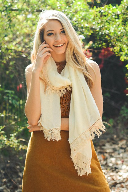 Single Edge Boho Scarf - orangeshine.com