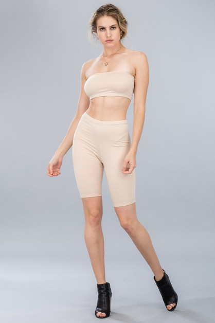 Cropped Tube Top and Biker Short Set - orangeshine.com