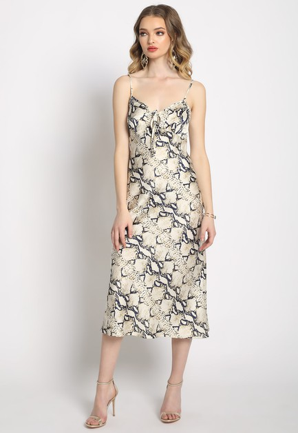 SNAKESKIN MIDI SLIP DRESS - orangeshine.com