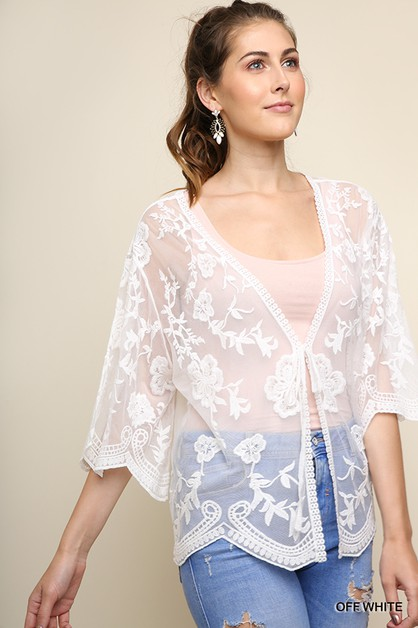 Sheer Floral Embroidered Mesh Kimono - orangeshine.com