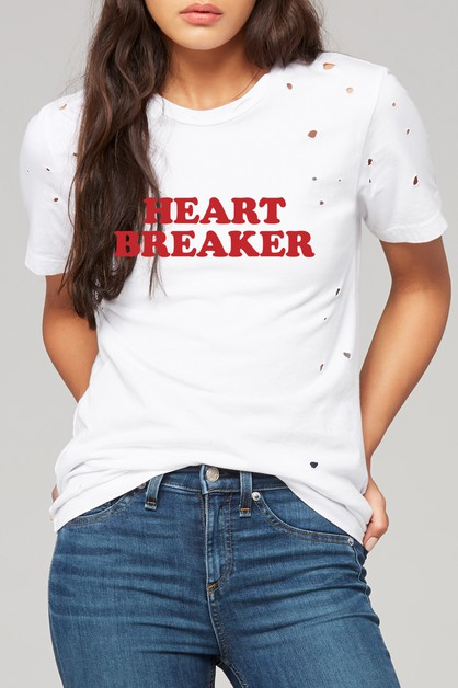 HEART BREAKER DISTRESSED TEE - orangeshine.com
