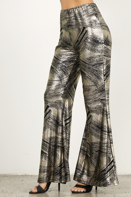 metallic bell bottom pants - orangeshine.com