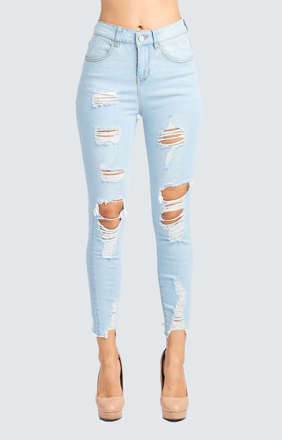 DESTROYED SKINNY JEANS HIGH RISE - orangeshine.com