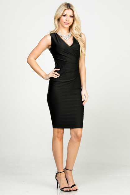 Overlap Tricot Tanya dress with side - orangeshine.com