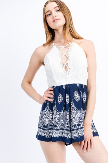 Boho Lace Criss Cross Open Back Romper - orangeshine.com